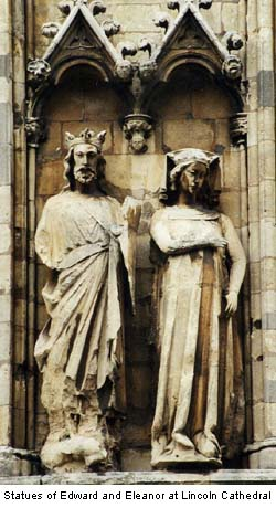 Statues of Edward and Eleanor at Lincoln Cathedral